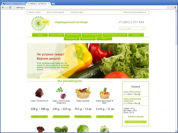 Продуктовый интернет-магазин «Салат» от Омегадизайнеров